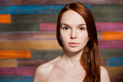 Naked pretty girl with red hair Stock Image