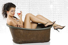 Naked with red wine Stock Photo