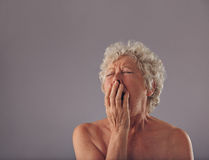 Naked senior woman feeling sleepy. Portrait of naked senior woman yawning. Tired looking old female with copy space on grey background Royalty Free Stock Photography