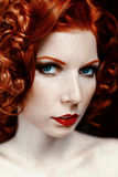 Naked sensual red-haired girl Royalty Free Stock Photos