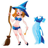 Naked sexy witch and blue dress Royalty Free Stock Image