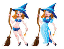 Naked sexy witch and in blue dress Stock Image