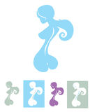Naked silhouette with backbone line Royalty Free Illustration