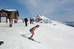 Naked skier. SOCHI, RUSSIA - MAR 26, 2014: The highest height Rosa Khutor Alpine ski Resort in Krasnaya Polyana - popular center of skiing and snowboard, venue Royalty Free Stock Photo
