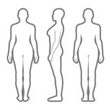 Naked standing woman silhouette. Full length front, back, side view of a lean standing naked woman silhouette, isolated on white background. Vector illustration Stock Photography