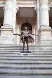 Naked Statue Of Emperor Trajan, Bucharest, Romania. The statue made by late sculptor Vasile Gorduz was praised by the Bucharest Mayor Sorin Oprescu who launched Royalty Free Stock Photo