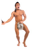 Naked surprised Sherlock Holmes. With pipe isolated on white Royalty Free Stock Photography