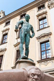 Naked swordsman. In the square in front of the University of Wroclaw Royalty Free Stock Images