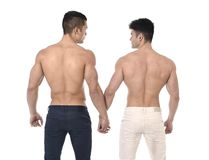 Naked torso young gay couple holding hands showing strong body in homosexual men love concept Stock Photography