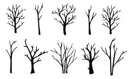 Naked trees silhouettes set. Hand drawn isolated illustrations. Royalty Free Stock Images