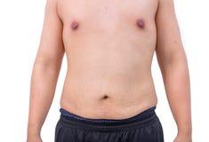Naked tummy of fat boy white background. The Naked tummy of fat boy white background Stock Image
