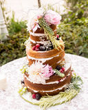 Naked wedding cake Stock Photography