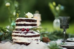 Naked wedding cake on the table in rustic style. Wedding cake on the banquet. Chairs and honeymooners table decorated, served with cutlery and crockery and Stock Photos