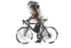 Naked woman with a bicycle. Stock Photos