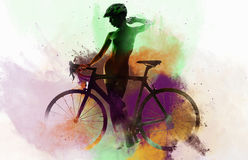 Naked woman with a bicycle Royalty Free Stock Photography