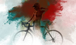Naked woman with a bicycle Stock Images