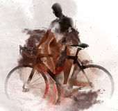 Naked woman with a bicycle Stock Photography