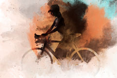 Naked woman with a bicycle Royalty Free Stock Photos