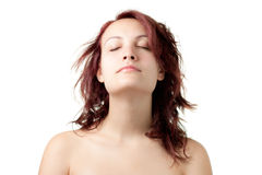 Naked Woman with Eyes Closed Royalty Free Stock Image