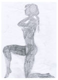 Naked woman´s shadow. Naked girl - pencil technique - hand made Stock Photos