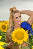 Naked woman surrounded by sunflowers.  Stock Images