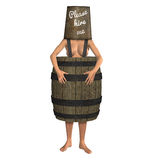 Naked Woman Wearing Barrel Please Hire Me Stock Photography