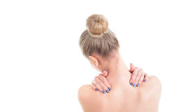 Free Naked Woman With Neck Pain. Back View. Studio Shot On White Back Stock Images - 91396994