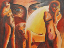 Naked women. Abstract naked women, this is oil painting and I am author of this image Stock Photo