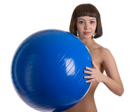 Naked women with blue ball Royalty Free Stock Photo