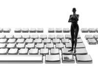 Naked women on keyboard. Isolated on a white background Stock Photos