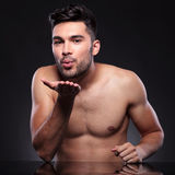 Naked Young Man Sends You A Kiss Stock Photo