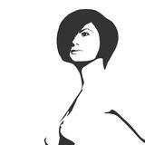 Naked young woman sketch Royalty Free Stock Image