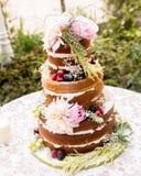 Naken bröllopstårta Arkivbild