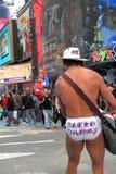 Naken Cowboy för NYC Arkivfoton
