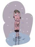 Naken fryst ung man royaltyfri illustrationer