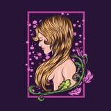 Naken illustration för flickablommavektor royaltyfri illustrationer