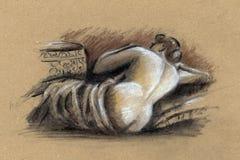 naken kvinna Teckning Arkivbild