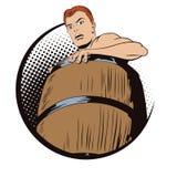 Naken man inom en trumma Fördärva och skulder Arkivbilder