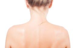 Nakenstudie knuffar kvinnan från baksidan Arkivfoto
