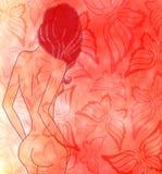 naket kvinnabarn vektor illustrationer