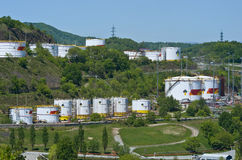 Nakhodka, Far East of Russia - 30 May 2014: Rosneft Oil Terminal in the port of Nakhodka sunny summer day. Stock Images