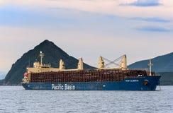 Nakhodka La Russie - 30 juin 2015 : Le bateau d'Alberni de port a chargé avec des rondins à l'ancre dans les routes Photo stock