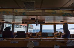 Nakhodka Rosja, Lipiec - 06, 2016: Widok od mosta statek dla bunkering paliwowej zbiornika statku Cosco firmy Obraz Royalty Free