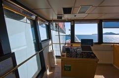 Nakhodka Rosja, Lipiec - 06, 2016: Widok od mosta statek dla bunkering paliwowej zbiornika statku Cosco firmy Zdjęcie Royalty Free