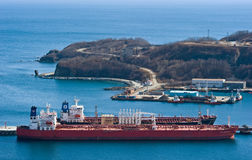 Nakhodka. Russia -April 11, 2014: Tankers Nave Cassiopeia and Ardmore Seavanguard near the oil terminal company Rosneft. Stock Image