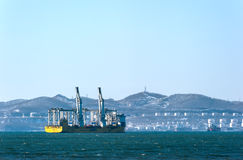 Nakhodka. Russia - January 28, 2017: The vessel for transportation of large cargoes Happy Star standing on the roads at anchor. Royalty Free Stock Photography