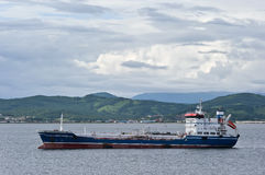 Nakhodka. Russia - July 18, 2016: The tanker Zaliv Nakhodka at anchor in the roads. Royalty Free Stock Image