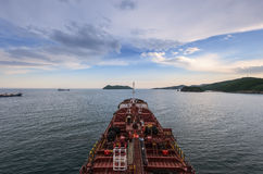 Nakhodka. Russia - June 03, 2016:  The bow of the tanker Ostrov Russkiy anchored in the roads. Stock Photos