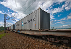 Nakhodka. Russia - June 26, 2016: The containers move by rail to the port Vostochny. Royalty Free Stock Image