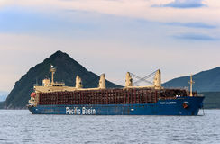 Nakhodka. Russia - June 30, 2015: Port Alberni ship loaded with logs at anchor in the roads. Stock Photo